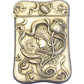 Art Nouveau motif match safe, sterling by L Fritzsche, c. 1900