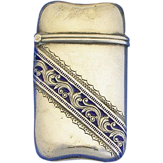 Match safe, blue enamel band on sterling, by H. H. Curtis, #244