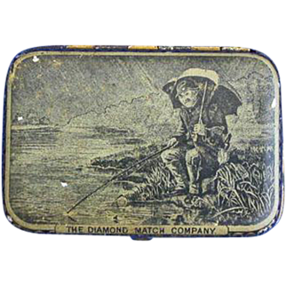 Fishing scene match safe, Diamond Match Company, painted, litho tin