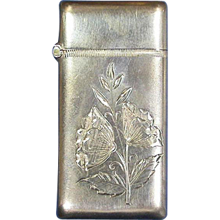 Engraved floral motif match safe, sterling, #112