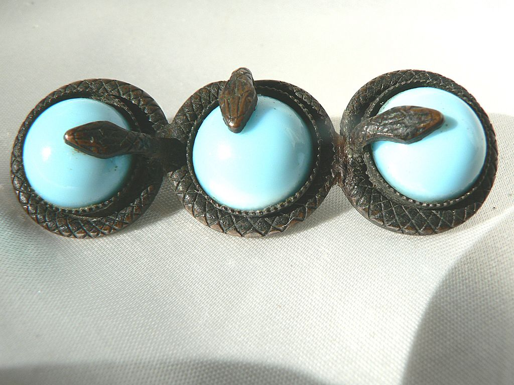 Antique Victorian Triple Serpent Snake & Blue Cabochon Stone Brooch Pin