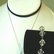 Vintage Aurora Borealis Crystal Bracelet & Sterling Pendant Necklace