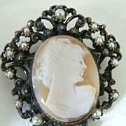 Vintage Shell Cameo & Faux Seed Pearl Cameo Pendant Brooch