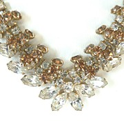 Dazzling Vintage Clear & Topaz Layered Rhinestone Necklace