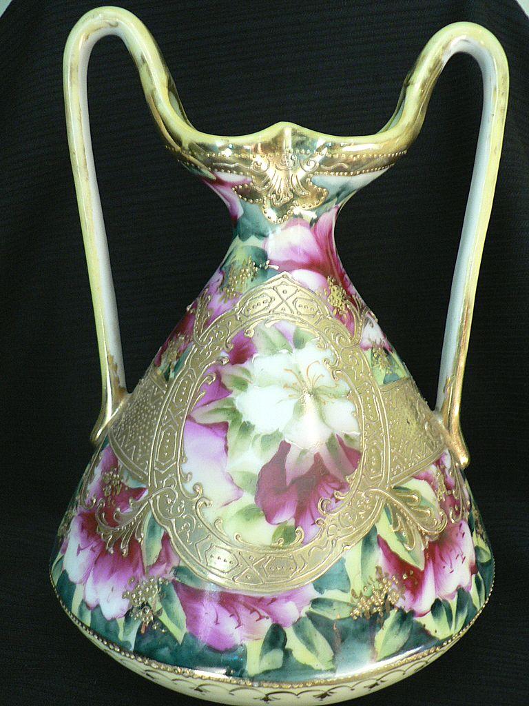 Circa 1890 Nippon Flower Ewer Vase Heavy Gold Gilt & Raised Handles