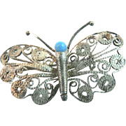 Charming Dainty Vintage Silver Filigree Butterfly Brooch Pin with Turquoise