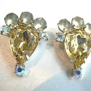 Vintage Signed  GARNE Designer Citrine, Moonglow & AB Earrings