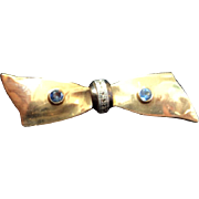 Vintage 10K Solid Yellow and White Gold & Sapphire Bowtie Pin