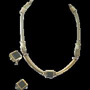 Vintage Miriam Haskell Art Deco Style Black & Gold Mesh Necklace & Earring Demi Parure
