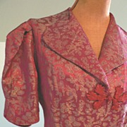 Vintage 30s/40s Fitted Waistline Embroidered Chinese Silk Sweeping Robe