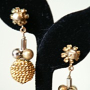 Signed Miriam Haskell Classy Long Dangle Bead Gold Ball Earrings