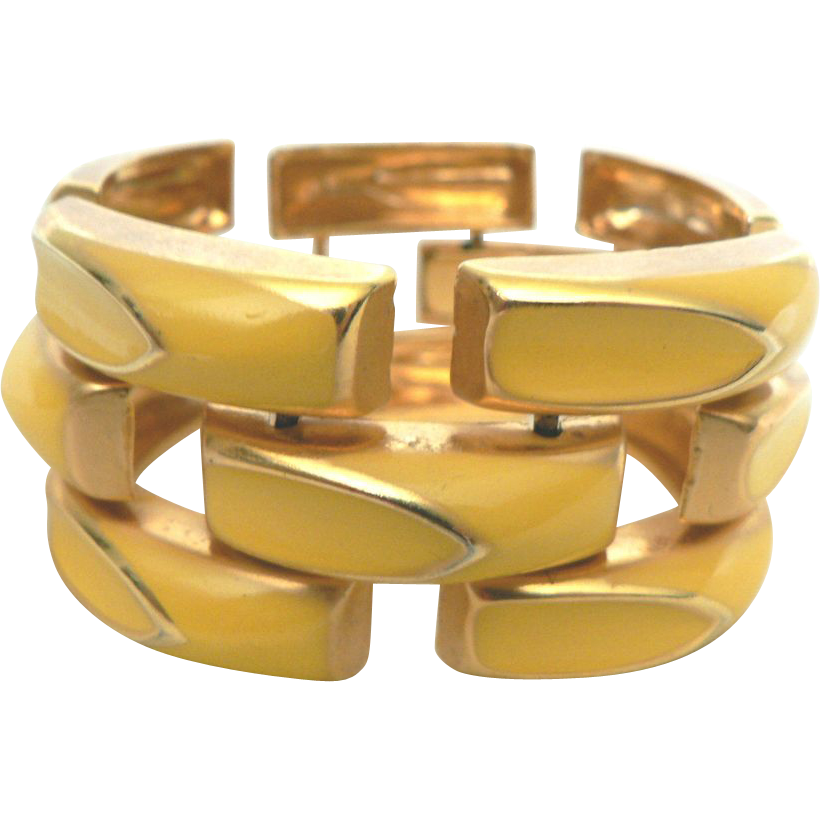 1960s Yellow Enameled Art Deco Style Wide Linked Bracelet Old New Stock