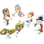 Five 1961-62 Fisher Price Circus Characters Ring Master, Clown, Monkey, Bear & Tiger Toy