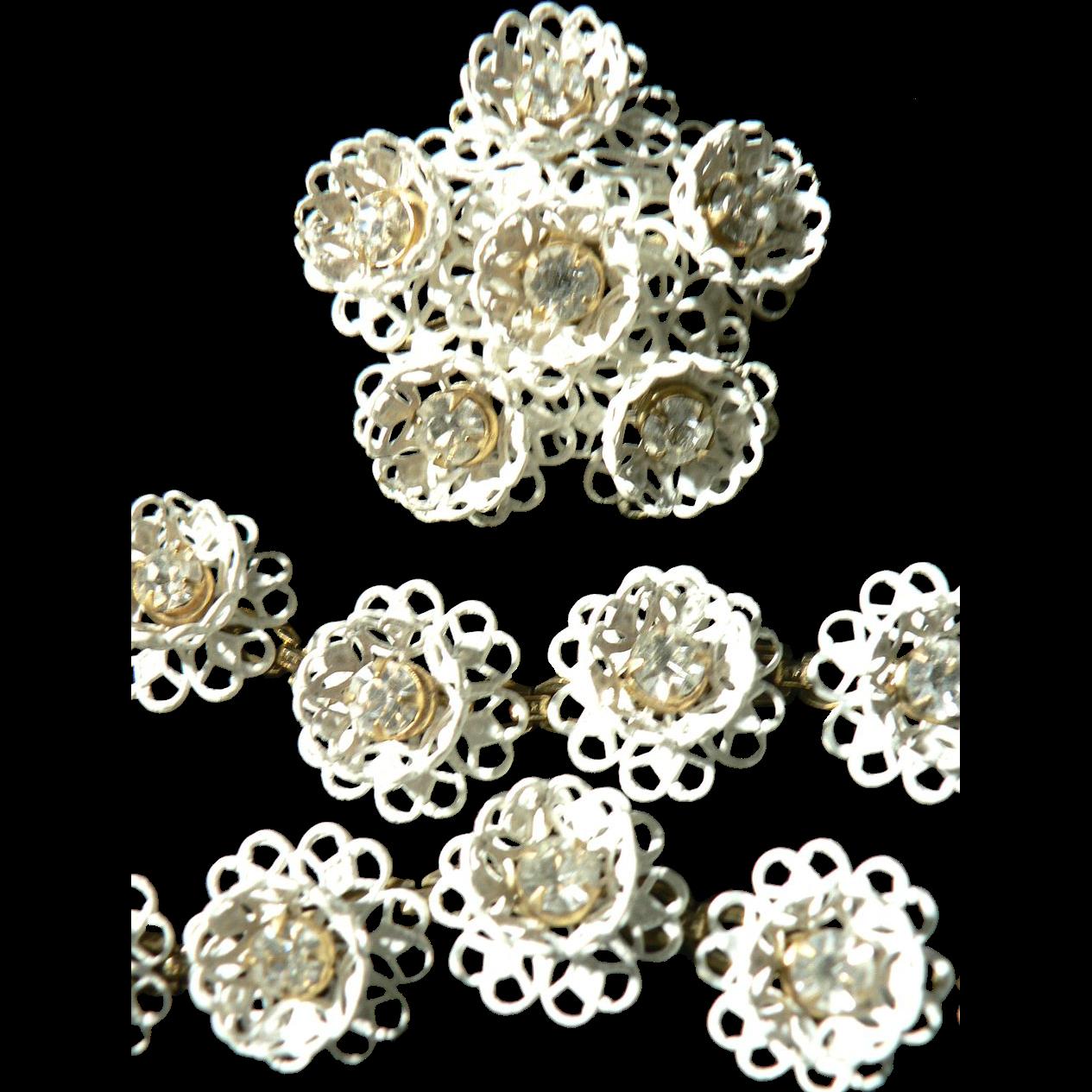 Fabulous KRAMER of N.Y. Full Parure Enamel & Rhinestone Flower Necklace, Bracelet & Earrings