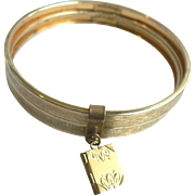 Antique Walter Hayward Double Bangle GF Bracelet with Dangling Book Locket