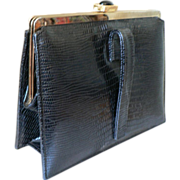 Vintage Meyers Black Faux Lizard Leather Clutch Purse 1960's Pocketbook