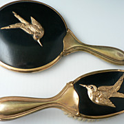 Uniquely Fabulous Scissor-Tail Swallow Bird Vanity Hand Mirror & Brush Set Circa 1920's