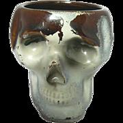 Rare 1940's Red Pottery Skull Skeleton Shot Glass