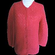 1960's Italian Mohair Sweater Deep Cherry Pink Sz. 8/10