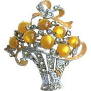 Gold Moonglow Glass Cabochon, Enamel & Rhinestone Flower Basket Pin