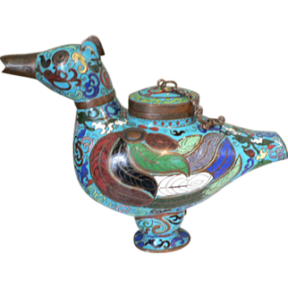 SALE Quing Dynasty Chinese Cloisonne Fowl Censer Incense Burner