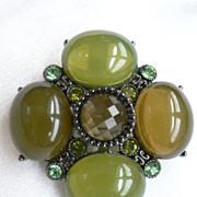 Vintage Green Cabochon Cluster & Rhinestone Pin Pendant