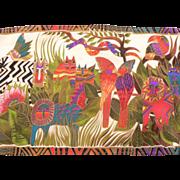 Vintage Laurel Burch Silk Scarf Jungle Animals with Cats