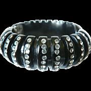 Art Deco Deep Carved Bakelite Clamper Rhinestone Bracelet