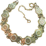 Estate Spanish Damascene Gold Filled Bracelet