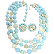 1950's Plastic Mottled & Glass Sky Blue Necklace & Earring Set JAPAN