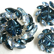 Spectacular 1960's Blue Pinwheel Dome Rhinestone Large Pin & Earring Set, Juliana ?