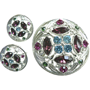 Vintage 1960s Sarah Coventry Art Deco Domed Style Rhinestone Demi Parure Pin Earring Set