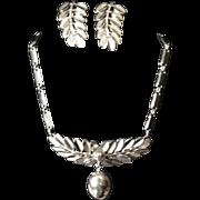 Vintage 1960's Marino Silver Metal Leaf Frond Dangle Drop choker Necklace & Earring Set