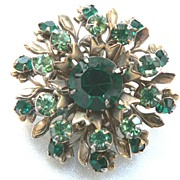 Vintage Green Floral Spray Brooch Pin