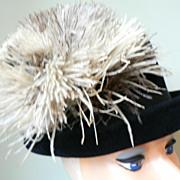 """1960's Vintage """"Christine Original"""" Ostrich Feather Plumed Black Velvet Hat"""