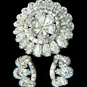Spectacular Large Snowflake Rhinestone Pin Brooch & Earrings Rhodium Backed