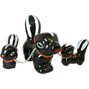 1940's Red Pottery Mother Skunk with Chained Baby Skunks