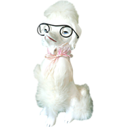 1950's Large Ceramic Poodle Figurine with Genuine Fur Wearing Spectacles