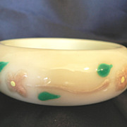1960s Retro Lucite Bangle Bracelet with Applied Flower Swag