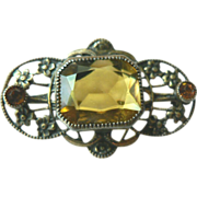 Edwardian Gold Gilt Brass Pin with Faux Topaz