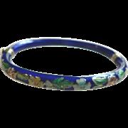 Vintage Chinese Cobalt Blue Gilded Enamel Cloisonne Flower Bracelet