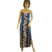 Vintage Hawaiian Full Length Dead Stock Royal Blue Sundress New with Tags Hibiscus Tropical Print