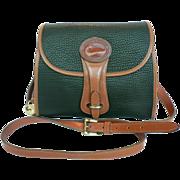 Vintage Equestrian Dooney & Bourke Green & English Tan Leather Crossbody Bag Purse U.S.A.