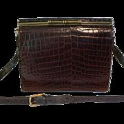 Rare Vintage Genuine Alligator Skin SHOULDER STRAP Adjusting to Kelly Style Handbag Purse Rich Brown Color