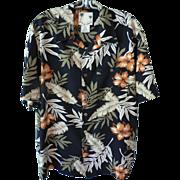 Vintage Men's Banana Cabana 100% Silk Shirt Floral Hawaiian Print Aloha Ex. Cond. Sz. M