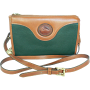 Vintage Dooney & Bourke Green & English Tan Leather Cross Body Bag Purse AWL