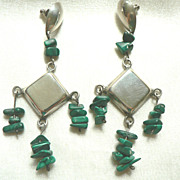 Vintage Mexican Sterling Silver & Turquoise  Chandelier Dangle Pierced Earrings