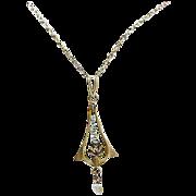 10k Gold Seed Pearls Edwardian Lavalier & Chain