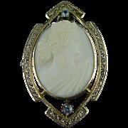 10k Rose Gold Edwardian Cameo Pin Filigree & Blue Topaz