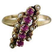 Pretty Victorian 10k Gold Ring Set With Rubies & Seed Pearls